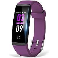 itDEAL 改良版 IP67防水 スマートウォッチ 血圧計 心拍計 歩数計 スマートブレスレット 睡眠検測 アラーム 多機能 着信電話通知 line通知 iPhone/iOS/Android 日本語対応 (purple)