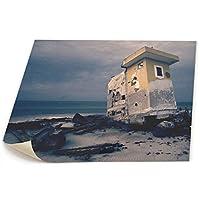 レッドカラー タペストリー 壁掛け 崩壊 建物 海辺 海 砂 壁画 ホームデコレーション ウォールデコレーション
