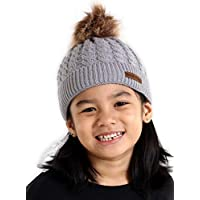Brook + Bay Kids Pom Pom Beanie - Fits Girls, Boys, Babies, Toddlers & Children Ages 2 & Up - Thick, Soft & Warm Cable Knit Hats - Cozy Kids Cold Weather Chunky Hat for The Winter Season