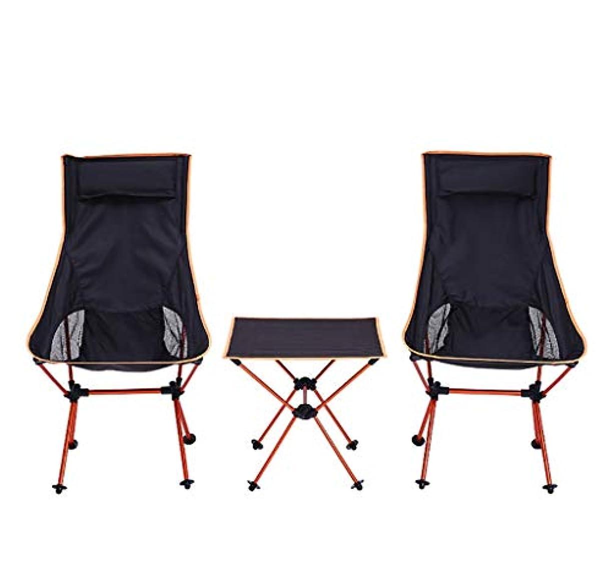 バスト持つ排除するチェア?ベンチ 屋外のキャンプチェア、ポータブル折りたたみテーブルとヘッドレストの家族と設定された椅子3ピースはキャンプビーチのバックパックに適した150キロをロードすることができます