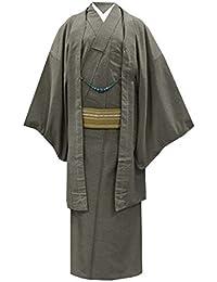 (ヒロミチナカノ) hiromichi nakano 男性用【洗える着物?羽織 アンサンブル 2点セット/ベージュ×黒 モダン菱並び 15475-15476】仕立て上がり