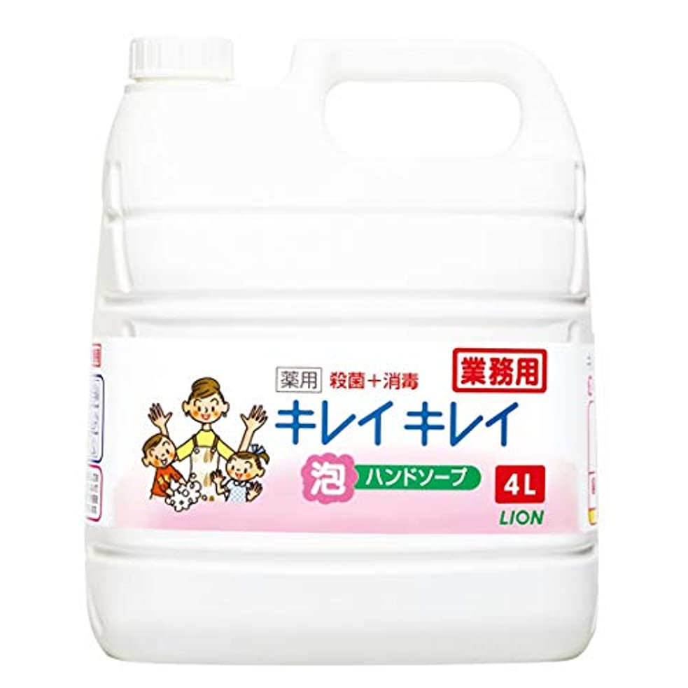 より多いカップル船形【業務用 大容量】キレイキレイ 薬用 泡ハンドソープ シトラスフルーティの香り 液体 単品 4L(医薬部外品)