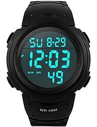 メンズ デジタル腕時計 防水腕時計 50メートル防水 ブラック大文字盤 ストップウオッチ アラーム LED バックライト タイマー機能付き ZAYIYA