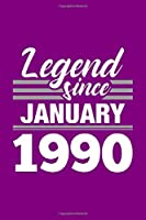 Legend Since January 1990 Notebook: Lined Journal - 6 x 9, 120 Pages, Affordable Gift, Purple Matte Finish