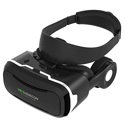 JingXiGuoJi VR ゴーグル ヘッドフォン一体型 スマホ ゲーム 映画 ビデオ VR ゴーグル 3D メガネ 超3D映像効果 仮想現実 VR Box (3.5~6.3インチ AndroidやIOSスマホ適用)