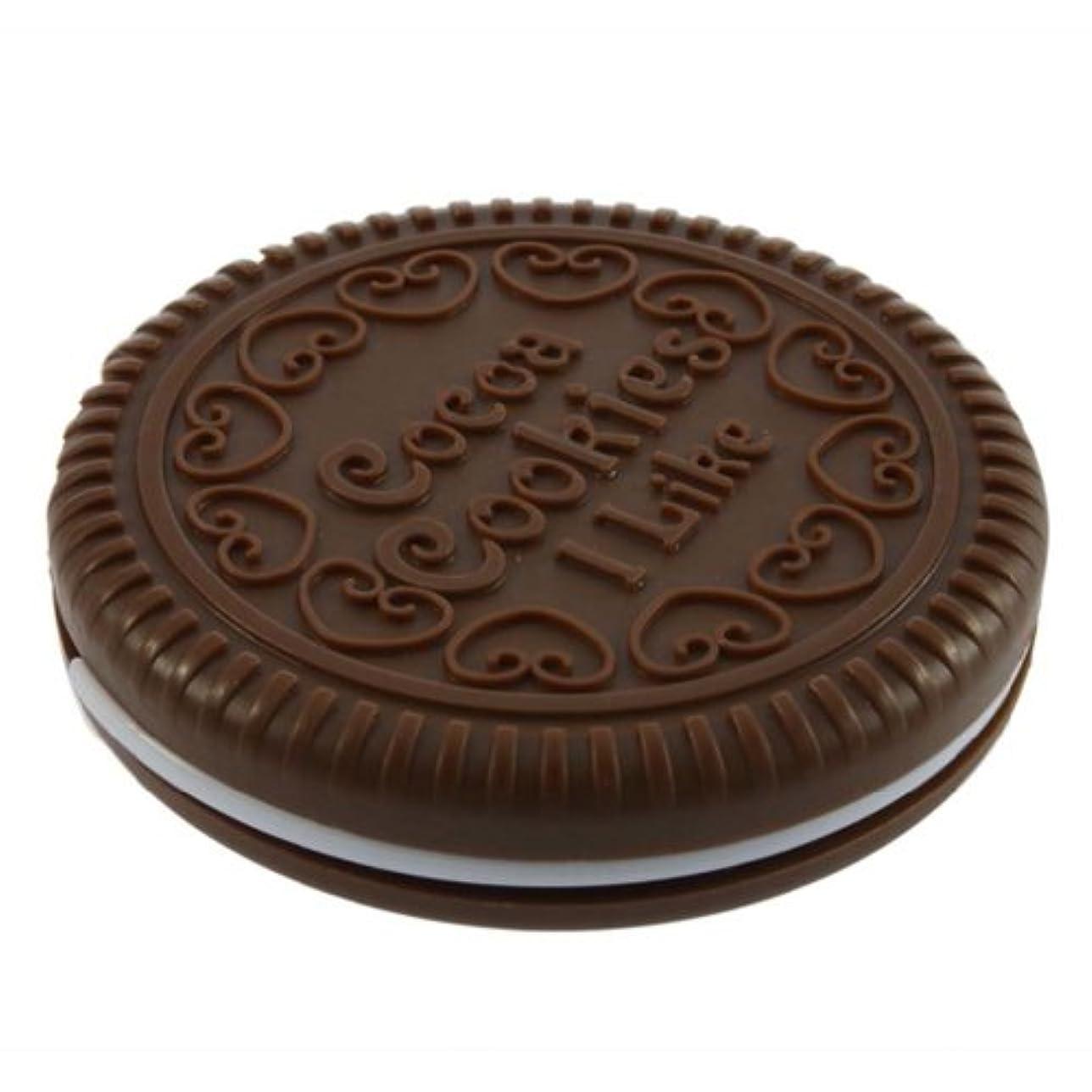 損失感覚ポルティコSODIAL ポータブルな可愛いなチョコレートクッキーの形のミラー+くし レディー ガール