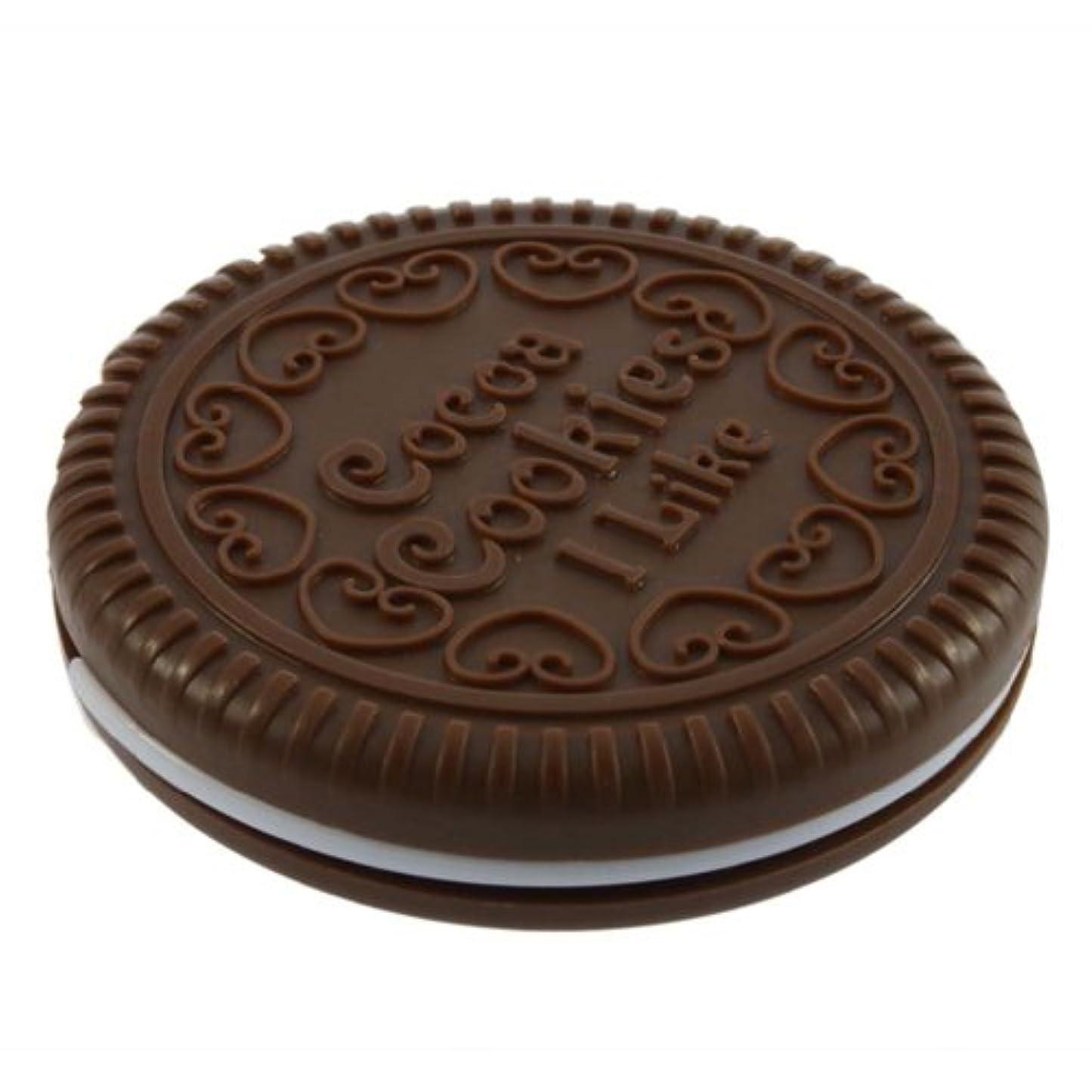 年金セメントアナロジーSODIAL ポータブルな可愛いなチョコレートクッキーの形のミラー+くし レディー ガール