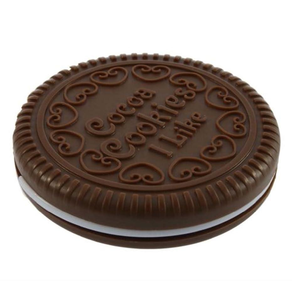絵ドア容赦ないSODIAL ポータブルな可愛いなチョコレートクッキーの形のミラー+くし レディー ガール