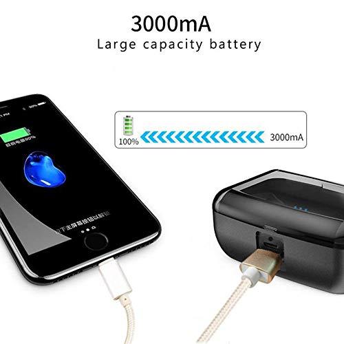 『zhongxinze 【進化版 3000mAh IPX8完全防水】Bluetooth イヤホン Hi-Fi 高音質 最新Bluetooth5.0+EDR搭載 3Dステレオサウンド 完全ワイヤレス イヤホン 自動ペアリング ブルートゥース イヤホン AAC対応 左右分離型 Siri対応 音量調整可能 超大容量充電ケース付き 片耳&両耳とも対応 iPhone/ipad/Android適用 (ブラック)』の2枚目の画像