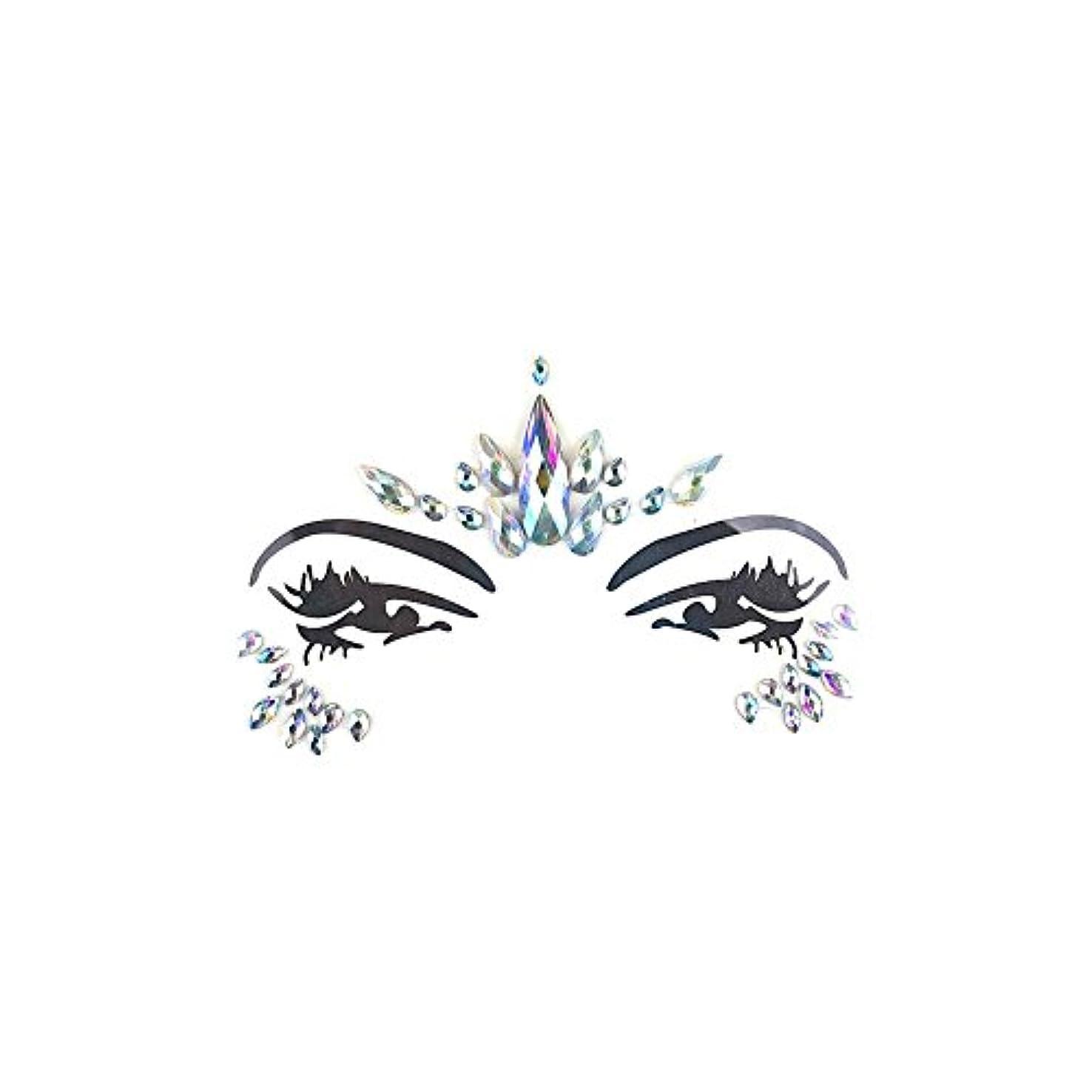 わずかなシールドディーラーSILUN フェイスダイヤモンドステッカー一時的 宝石 キラキラ 環境 優しい樹脂クリスタルラインストーンフェイスステッカー音楽祭 ホリデーパーティーダンス眉フェイス接着剤