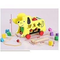 幼児期のゲーム 子犬カートシェイプマッチングボックスインテリジェンスボックスプルローププルビート子供パズル教育玩具(黄色)