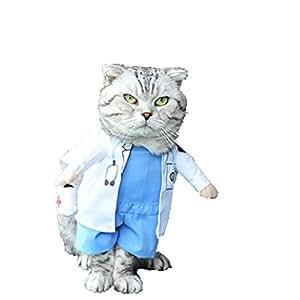 変身服 猫用コスプレ コスチューム ペット服 犬、猫用 17種類 変身服 S->XL サイズ【Justgreat】(医者,S)