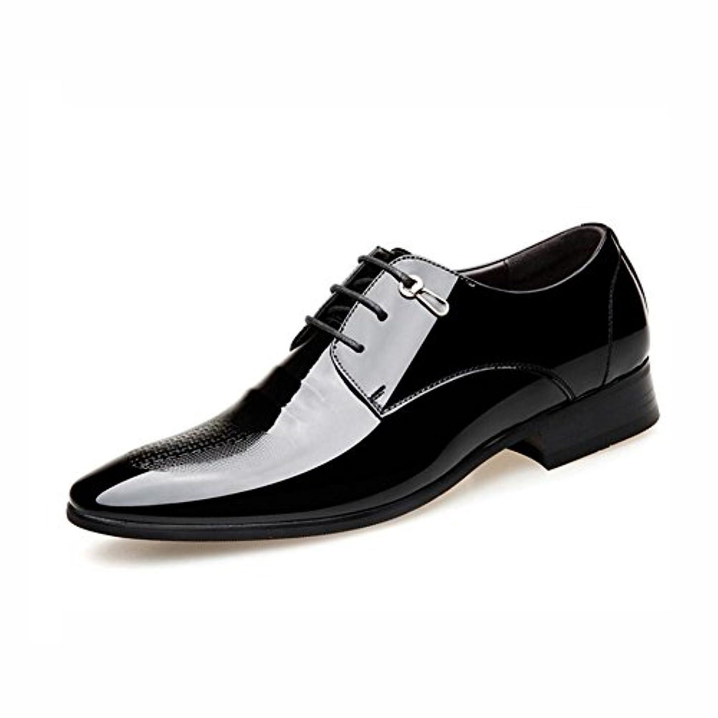 慈悲溶岩アクセスメンズフォーマルレザーシューズ, 春の秋は、つま先の靴を指摘, 英国スタイルのビジネスシューズ, 光沢のある革の靴, オフィスで一日に最適,Black,42