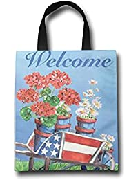 WACRDG Shopping Handle Bags,Welcome Personalized Tote Bag