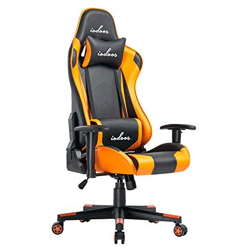 IODOOS ゲーミングチェア gaming chair 無段階約180度リクライニング パソコンチェア ゲーム用チェア ハイバック 柔らかいPUレザー ヘッドレスト付き ランバーサポート付き 事務用椅子 上下昇降機能 (オレンジ)23E