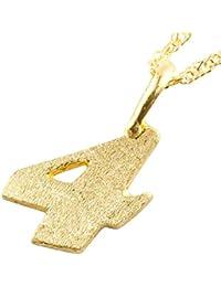 [アトラス] Atrus 純金 メンズ 数字 4 ナンバー ネックレス イエローゴールドK24 24K 24金 ペンダント チェーン(k24 50cm)