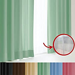 窓美人 エール 遮光性カーテン&UVカットミラーレース 各2枚 幅100×丈178(176)cm グリーン