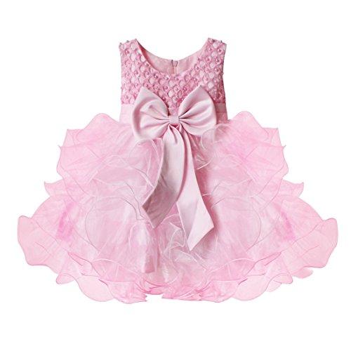 (アイム)iiniim 子供ドレス 女の子キッズドレス フォーマル キッズドレス リボン ワンピース パーティードレス フォーマルドレス お宮参りベビードレス 新生児肌着 フラワーガール7色 ピンク 80