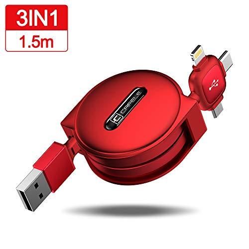 CAFELE ライトニングケーブル 巻き取り式 3in1 充電ケーブル Ty...