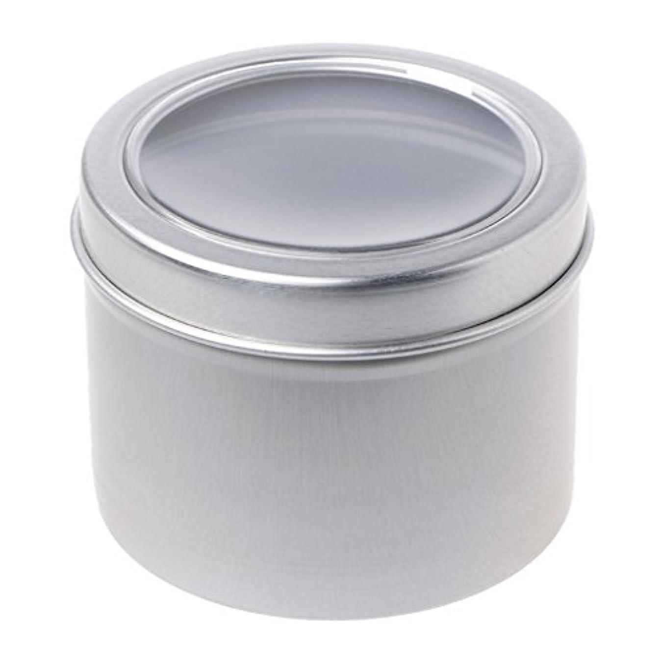 スキッパースクラップブック道徳SimpleLife 60mlラウンドスティンケースコンテナ、蓋が空のクリアウィンドウスイング、蓋付き、スモールガジェット、DIYリップバーム - スパイスケース、アルミ容器ボックス/ミニポケットサイズの缶