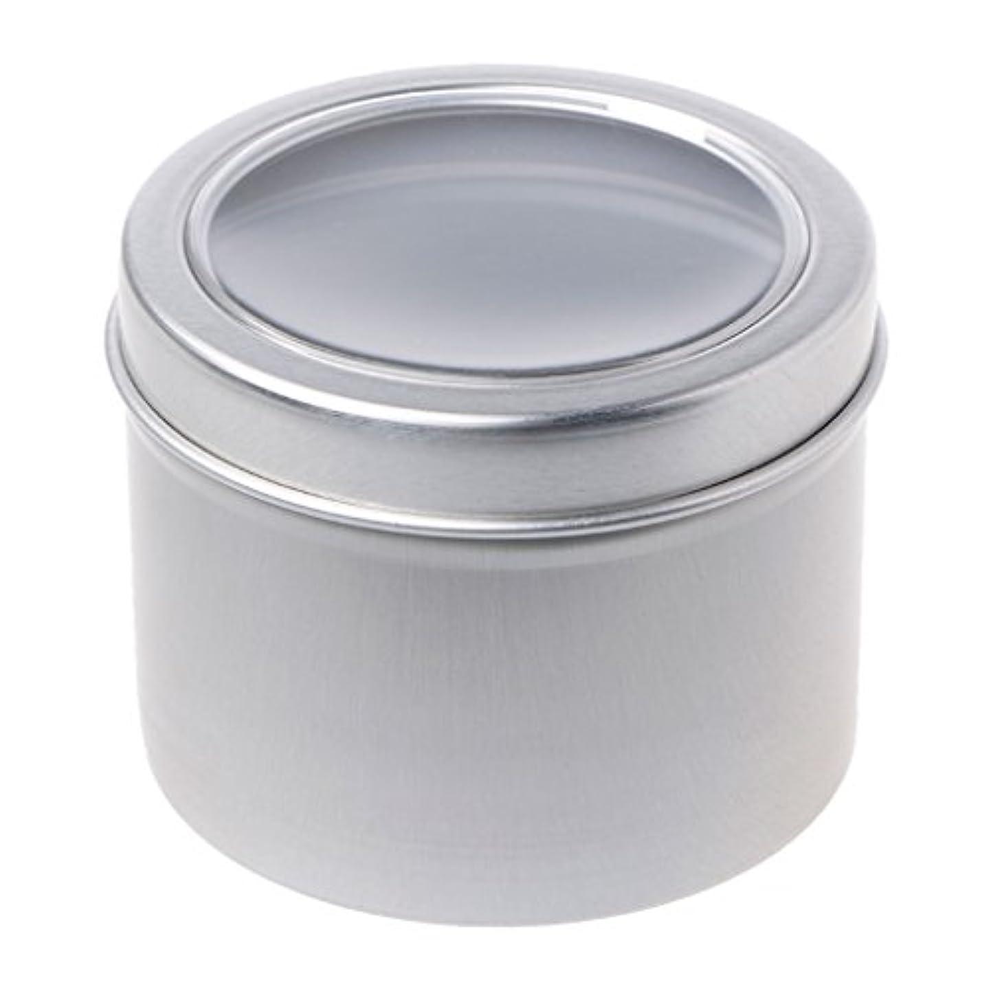 中に最小コメントSimpleLife 60mlラウンドスティンケースコンテナ、蓋が空のクリアウィンドウスイング、蓋付き、スモールガジェット、DIYリップバーム - スパイスケース、アルミ容器ボックス/ミニポケットサイズの缶