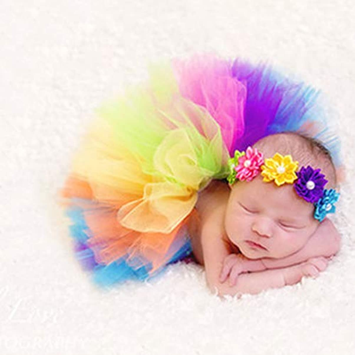 溢れんばかりの私たちのもの政治Fiyomet 生まれたばかりの赤ちゃんの写真プロップガールチュチュスカート付きヘッドバンド衣装赤ちゃん写真プロップかぎ針編みベビー服