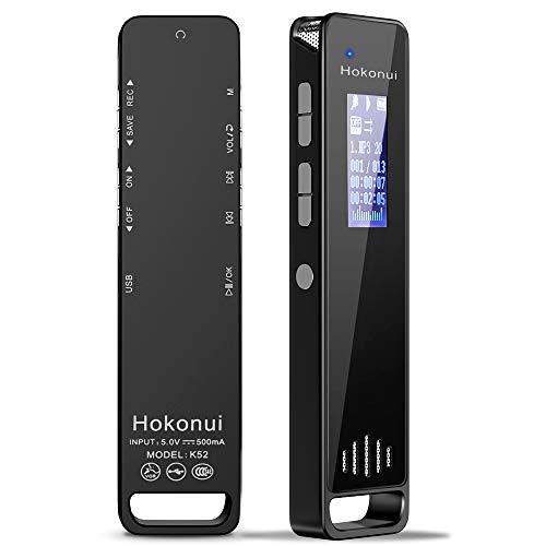 Hokonui ボイスレコーダー 大容量 16G 長時間録音 録音機 ICレコーダー 小型 1536kbps 高音質 専用録音チップ搭載 スピーカー内蔵 MP3プレーヤー USBメモリー 機能 録音操作簡単 (16G)