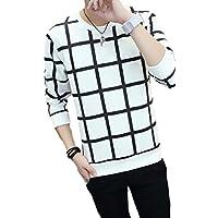 [モルクス] tシャツ 格子柄 モード系 長袖 9分袖 クルーネック ポリエステル メンズ