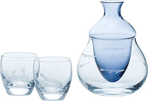 東洋佐々木ガラス 冷酒セット ブルー カラフェ220ml*1 杯100ml*2 酒グラスコレクション 海の幸 日本製 G604-M58 3点入り