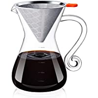 E-PRANCE コーヒーサーバー 多機能 2イン1 コーヒー ポット ステンレスフィルター 宮廷風 ハンド式 コーヒードリッパー 耐熱ガラス 2層メッシュ 紙フィルター不要 800ml 2杯分~4杯分 プレゼント ギフト