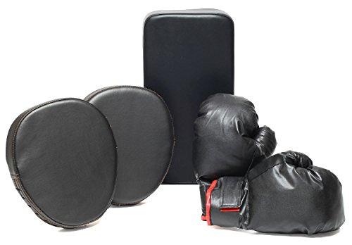 ボクササイズ フルセット パンチンググローブ ミット キックミット (ブラック)