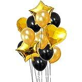 14個 ラテックスバルーン ソリッドカラーバルーン ゴールドハート型 星型 ホイルバルーン パーティー用品 誕生日 結婚式 プロポーズ用装飾 (ゴールデン)