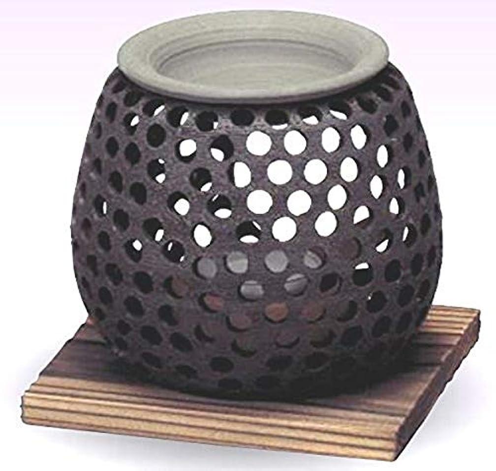 近代化干し草グレー常滑焼 石龍作 茶香炉(アロマポット)径10×高さ10cm