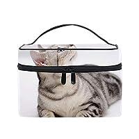便携式猫ぶち目の好奇心 メイクボックス 收納抜群 大容量 可愛い 化粧バッグ 旅行