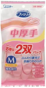 ファミリー ビニール 手袋 中厚手 指先強化 炊事・掃除用 Mサイズ 2双パック (Mサイズピンク×1双・Mサイズグリーン×1双)
