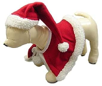 キュート クリスマス ペット 犬 猫 用 ケープ マント サンタ帽 帽子 サンタクロース 【 収納袋 セット 】 パーティー イベント コスプレ コスチューム クリスマス会 被り物 S56 (L)