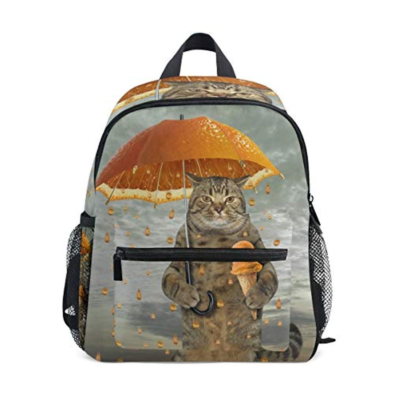 規制車文言VAWA キッズリュック 子供用 リュックサック おしゃれ 猫柄 面白い ミカン 傘をさす猫 アイスクリーム 軽量 キッズバッグ 女の子 大容量 防水 小学生 アウトドア 通学 通園