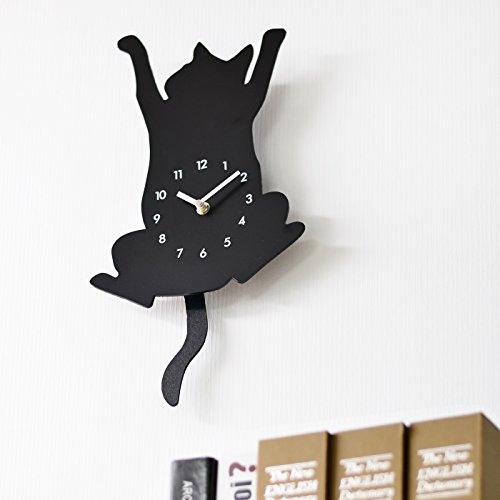 ねこのシルエット 掛け 時計 WALL CLOCK 台湾製 (クライミング)