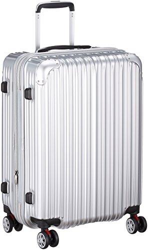 [トライデント] ハードジッパースーツケース キャリーケース 容量アップ拡張機能付 Mサイズ 中型 1年保証付 62-68L 保証付 68.0L 56cm 3.8kg TRI2035-56 シルバー シルバー
