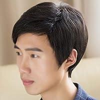 かつら男性の本物の絹の髪の毛の手織り本物の髪の短い髪の男性の完全なかつら自然な男性ハンサムな韓国語バージョン