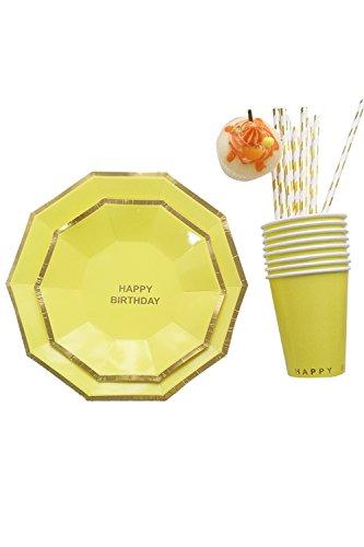 Lumierechat 紙皿 紙コップ テーブルウェア 誕生日 バースデー パーティー セット ペーパープレイト ペーパーコップ 8名様セット Happy Birthday (イエロー)
