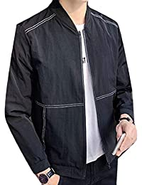 Keaac メンズボンバージャケットカジュアルスリム固体軽量アウターウェアコート