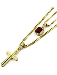 ゴールドトーンSmall Red Ruby & Braided Cross 3 mm30