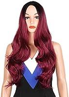 WIGHEW女性のファッション大きな波のかつらで自然な長い巻き毛化学繊維人間の髪のレースのかつら黒ワインレッドグラデーション