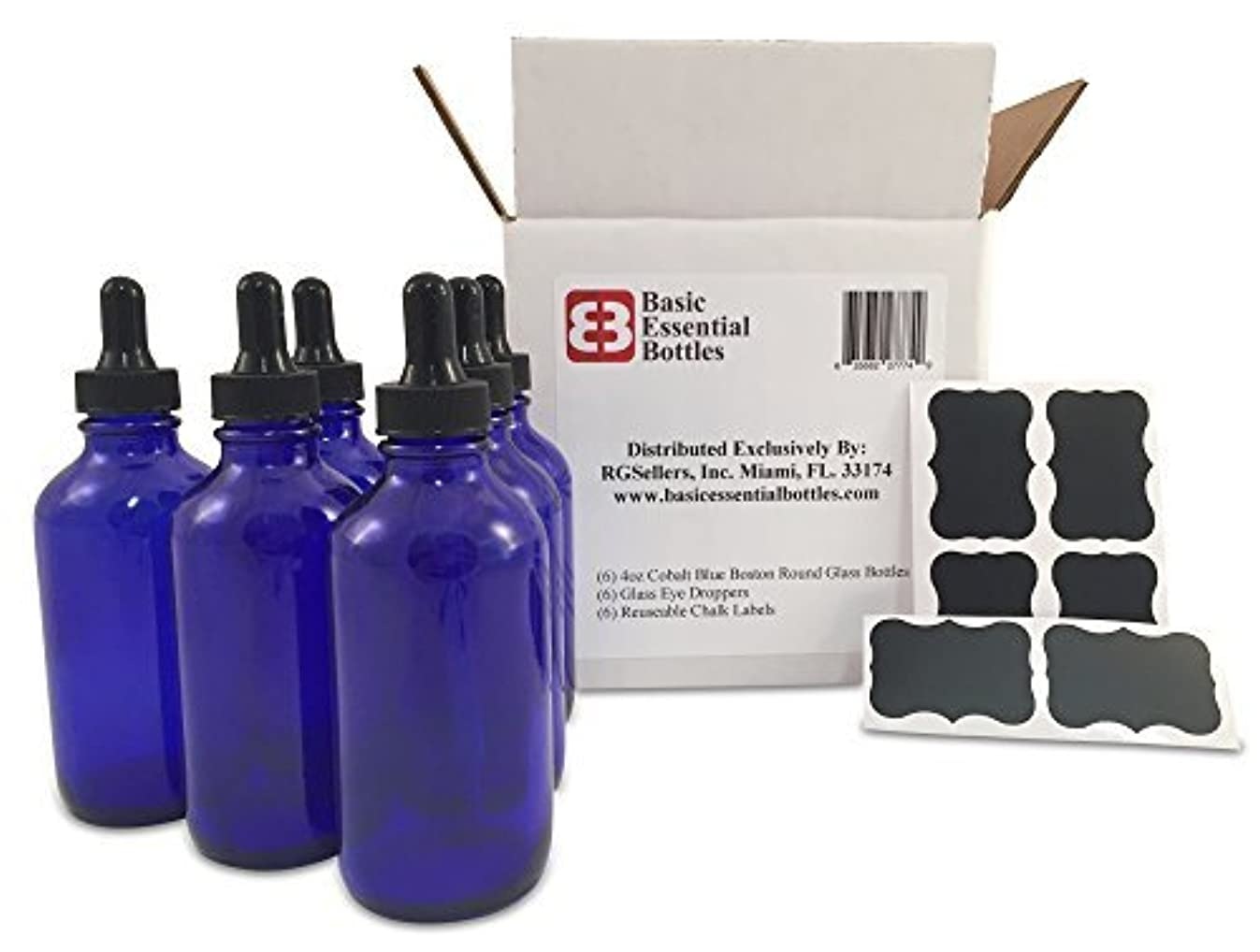 (6) 4 oz Empty Cobalt Blue Glass Bottles W/Glass Eye Droppers and (6) Chalk Labels for Essential Oils, Aromatherapy...