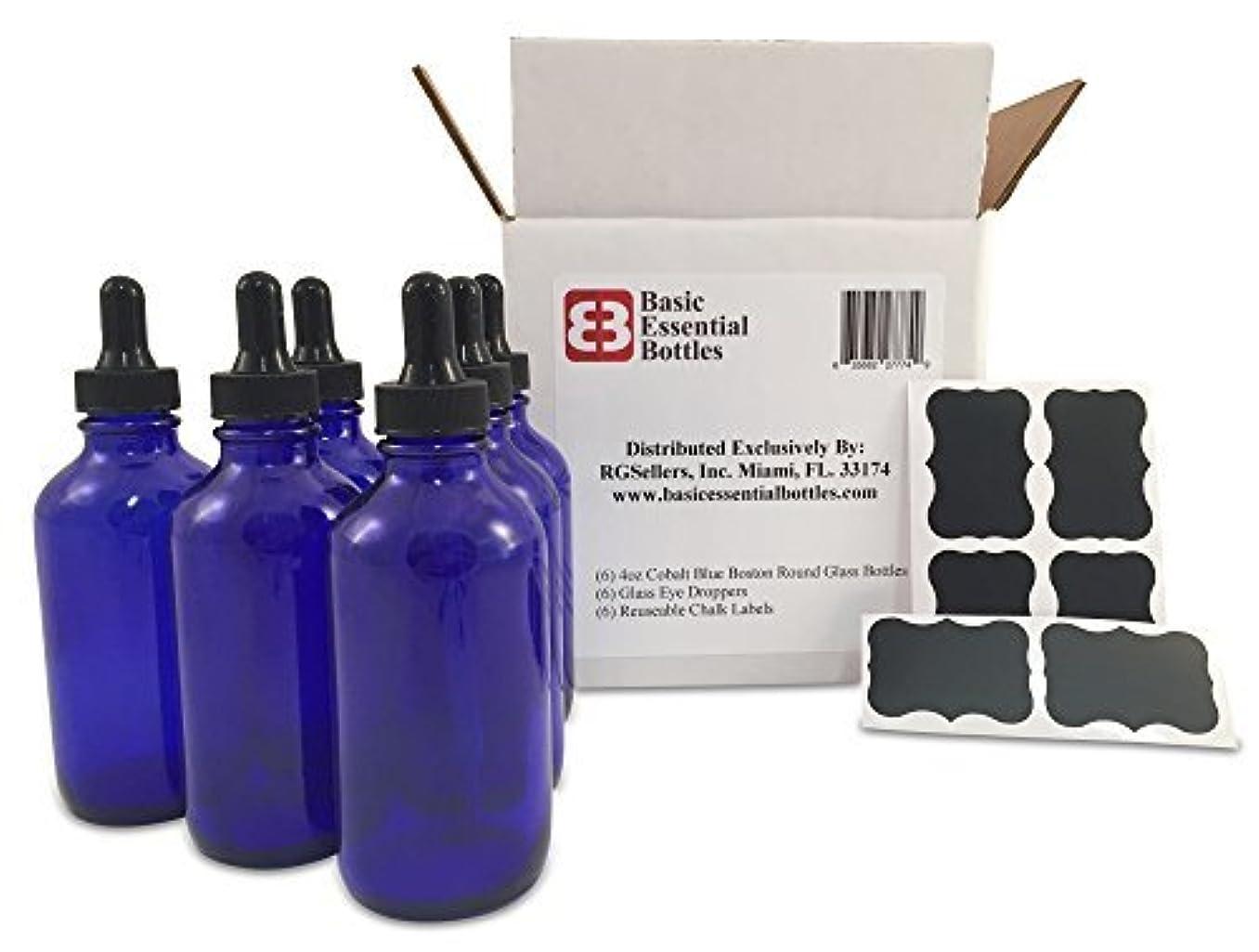 世界的に不可能なダッシュ(6) 4 oz Empty Cobalt Blue Glass Bottles W/Glass Eye Droppers and (6) Chalk Labels for Essential Oils, Aromatherapy...