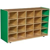 Wood Designs Kids Play Toy Book合板オーガナイザーwd14509gグリーンApple 20トレイストレージトレイなし