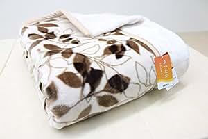 ダブル 京都西川 ふっくら やわらか 2枚合せ毛布 (リーフ) ソフトタッチ