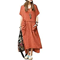 Romacci Women's Loose Casual Long Maxi Dress Cotton Linen Short Sleeve with Pockets