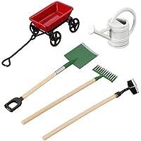 SODIAL DIY水撒き、カートスペードレーキ庭の工具引っ張ることができ子供の人形の家ミニチュア付属品セット用